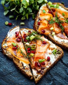 Smoked Salmon Toasties with a Pomegranate Glaze. For more photo and food inspiration check out https://www.instagram.com/theculinarybee/