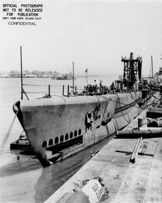 Submarine Spot at Mare Island Naval Shipyard, Vallejo, California, United States, 3 Jul 1944; note submarine Trepang in background  Source   United States Navy Identification Code   4142-44