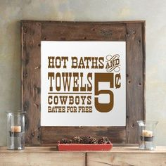 """Hot Baths and Towels"" Adorable design for rustic bathrooms. Embellished old time country wall decal bathroom art ideas for cheap. See more at www.lacybella.com"