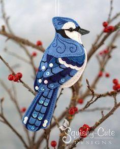 Blue Jay Sewing Pattern PDF - Backyard Bird Stuffed Ornament - Felt Plushie - Byron the Blue Jay - I Sewn Christmas Ornaments, Felt Ornaments Patterns, Bird Ornaments, Felt Christmas, Plushie Patterns, Bird Patterns, Sewing Patterns, Blue Jay, Colly Birds