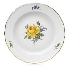 Dinner plate, Yellow rose and forget-me-nots, gold rim, ø 28 cm