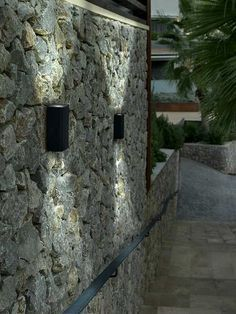 Image Result For Up Down Exterior Lights On Stone Wall Garden