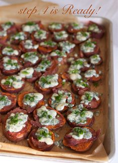 Sweet Potatoes with Blue Cheese & Bacon appetizer recipe: Potato Skins — Family Fresh Cooking