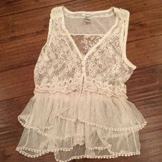 WKND sale! Sheer Lace Boutique top tiered Lace, tiered ruffles, layered,  clean creamy white color.  Looks adorable over a colored tank of bandeau top. Looks hot over a bikini top and denim cut offs!! Tops