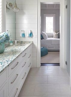 recycled sea glass style bathroom vanity countertop ideas blue and white coastal bathroom - Coastal Bathroom
