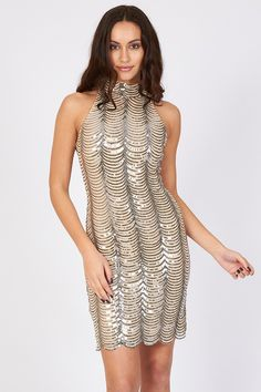 b9900447ae3b7 TFNC Scallop Sequin High Neck Dress | TFNC Mini Party Dress | Free UK  Delivery Bodycon