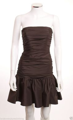 NWOT BETSEY JOHNSON EVENING  RUCHED FITTED BODICE BROWN TAFFETA DRESS SZ2