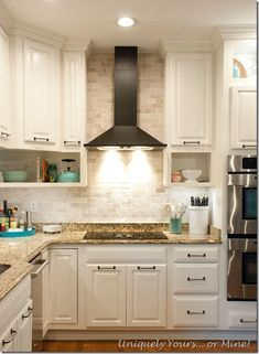 Final stage of DIY kitchen remodel, raised kitchen cabinets, open cabinetry, painted cabinets Diy Kitchen Remodel, Kitchen Redo, Kitchen Dining, Kitchen Ideas, Dining Room, Open Cabinets, Kitchen Cabinets, Painting Cabinets, Home Projects