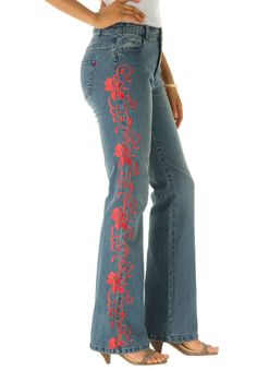 Gorgeous embroidery along the frontlegs  these jeans have bootcut fit -  a beautiful embroidery adds brilliant detail cotton/spandex machine wash   Plus size jeans, denim, pants - denim embroidered jeans by denim 24/7, sizes 12W to 32W In Style Now! roaams