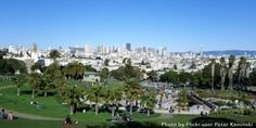 At Mission Dolores Park, kids swarm the new jungle gym and adults loll on the grass, picnicking or relaxing after eating at one of the many restaurants on nearby 18th Street.
