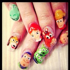Someone do this to my nails.... RIGHT NOW!!!  Toy Story Nail Art