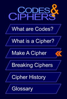 Codes & Ciphers NSA - Six Ciphers with instructions Link: https://www.nsa.gov/kids/ciphers.swf