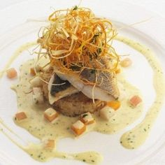 Sea bass, coriander and vanilla ♦ Sea bass fillet is tastefully dressed up with a coriander and vanilla sauce in this delicious recipe
