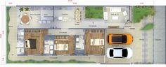 Planta de casa com ambientes integrados. Planta para terreno 10x25