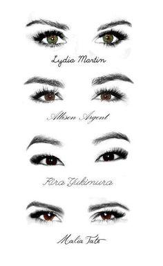 The eyes of Lydia Martin, Allison Argent, Kira Yukimurs, and Malia Tate. Teen Wolf Stiles, Teen Wolf Cast, Teen Wolf Dylan, Teen Wolf Allison, Teen Wolf Malia, Teen Wolf Memes, Teen Wolf Quotes, Arte Teen Wolf, Meninos Teen Wolf