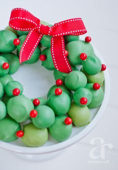 Oreo Cookie Balls Wreath Recipe for the holiday season - Great Christmas Cookie Exchange treat!