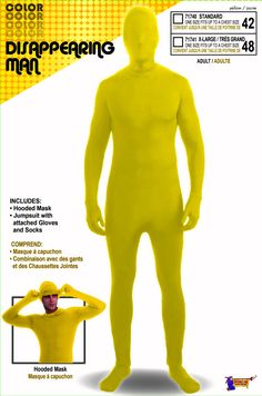 I'm Invisible Costume Stretch Body Suit Yellow Teen Standard