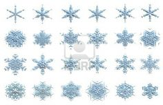 collection of computer generated 3d snowflakes isolated on white background Stock Photo