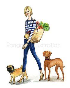 Custom fashion illustration, Pet illustration, custom portrait, Gift for her, Holiday gift, Birthday gift