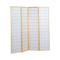 4 Panel Shoji Screen Natural ($130) ❤ liked on Polyvore featuring home, home decor, panel screens, natural, wood home decor, wood panel screen, wooden screen, wooden home decor and wooden room dividers