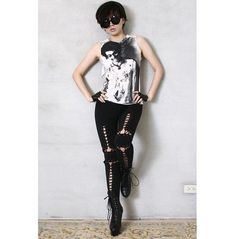 """Punk Armor Corset Laceup Cotton Black Stretch Legging Ankle (28.5"""" Long) Rock Chic Outfits, Hipster Outfits, Edgy Outfits, Rocker Chic Style, Punk Chic, Urban Fashion Women, Punk Fashion, Style Fashion, Ladies Dress Design"""