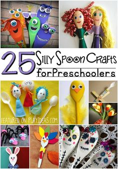How cute are these!!!!You'll never throw away another plastic spoon once you see these 25 spoon crafts for preschoolers! #Summer, #DIY, Summer Crafts