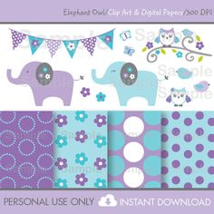 Elephant Owl Clip Art and Digital Paper by LittlePrintsParties, $7.50