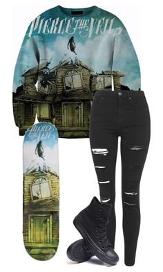"""""""high-key want this sweater and skateboard deck"""" by bands-are-my-savior ❤ liked on Polyvore featuring Topshop and Converse"""