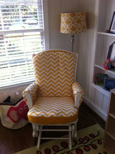 Custom made Nursery or Home Glider Rocker Chair Cushion Cover and Ottoman Cushion Cover (Free Shipping). $80.00, via Etsy.