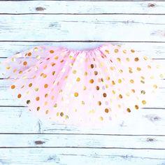 Skirt - Gold Dotted Pink Tutu Skirt | Girl's
