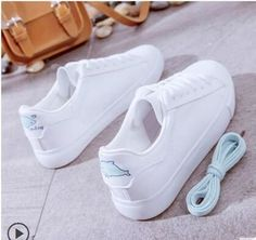 Spring White Sneakers For Women Comfortably Lace-up Flats Shoes Woman Sneakers Fashion Casual Shoes Girls Womens Fashion Sneakers, Fashion Boots, Pink Wedge Sandals, Lace Up Flats, Kinds Of Shoes, Pretty Shoes, Spring Shoes, White Sneakers, Shoes Sneakers