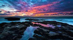 Earth - Sunset  - Ocean - Landscape - Rock - Nature - 4k - Ultrahd Wallpaper