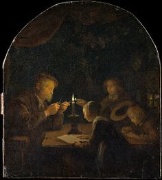 An Evening School Gerrit Dou (Dutch, Leiden 1613–1675 Leiden) Medium: Oil on wood Dimensions: Arched top, 10 x 9 in. (25.4 x 22.9 cm) Classification: Paintings Credit Line: Bequest of Lillian M. Ellis, 1940 Accession Number: 40.64 This artwork is not on display