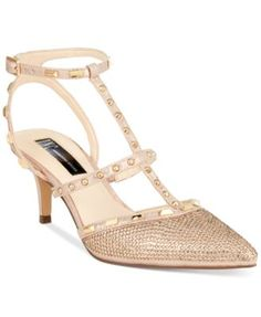 INC International Concepts Carma Evening Kitten Heel Pumps $99.50 Studded straps adorn the front, back and top of the Carma pumps from INC International Concepts. Rhinestone accents add sparkle to the toe and back.