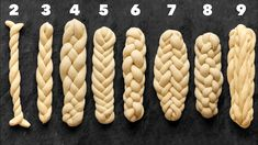 How to Plait or Braid Challah Bread from 2 3 4 5 6 7 8 and 9 Strands Pastry Recipes, Baking Recipes, Cookie Recipes, Dessert Recipes, Challah Bread Recipes, Bread Shaping, Bread Art, Braided Bread, Jewish Recipes