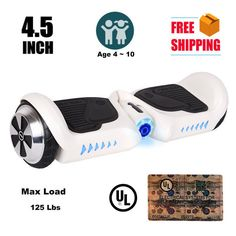 """4.5"""" Hoverboard Kids Mini Two Wheel Smart Self Balancing Scooter Board White"""