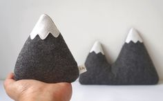 Felt Mountains, Mountain Pillows, Mountain Home Decor, Mountain Softies, Nursery Mountains, Nursery Decor, kids room decor, Mountain Nursery - pinned by pin4etsy.com