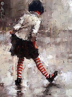 Dancing in the Rain by Russian-born Artist, Andre Kohn, Oil on canvas, Figurative Impressionism.
