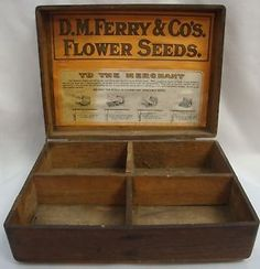 ANTIQUE-D-M-FERRY-CO-FLOWER-SEED-DOVETAIL-OAK-BOX-STORE-DISPLAY-W-PAPER-LABLE
