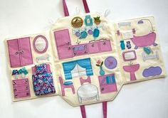 This unique and sweet, portable, textile purse can travel with your child anywhere. It is 20/27 sm. (open is like a small rug total 40/66 cm.)