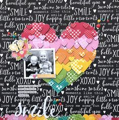 """scrapbookcom🌈 💖 WOW! This rainbow heart design is a die cutter's dream! @melindaspinks crafted this one-of-a-kind scrapbook layout using the """"You Make Miso Happy"""" Collection from Jillibean Soup!"""