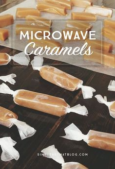 Microwave Caramels The easiest Christmas candy recipe ever! These caramels are so delicious and so simple to make.The easiest Christmas candy recipe ever! These caramels are so delicious and so simple to make. Easy Christmas Candy Recipes, Christmas Sweets, Holiday Recipes, Edible Christmas Gifts, Christmas Crack, Xmas, Holiday Candy, Holiday Baking, Christmas Baking