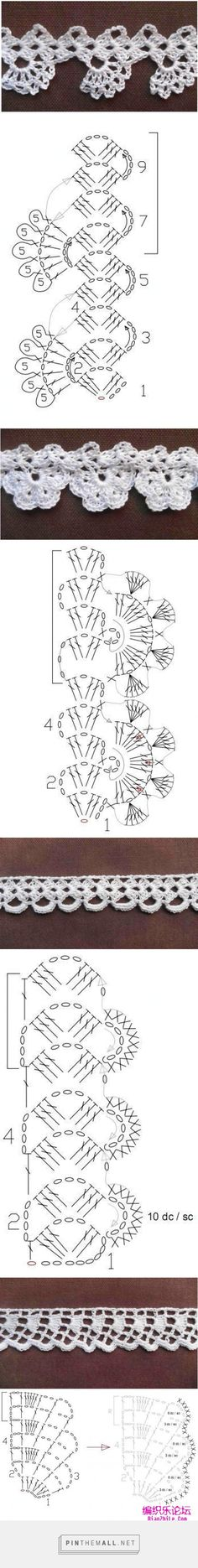Pretty, simple and quick crochet lace edgings: charts and samples by MyPicot; originally from the Home Work book, published 1891.