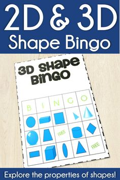 Explore the properties of 2d & 3d shapes with this fun, easy to prep Bingo game.  Call the shape using attributes or names as students cover the shape on their board.  Students will explore the edges, faces, vertices, and angles of shapes in this bingo game that's perfect for reviewing shape properties in 1st grade and 2nd grade.