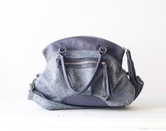 Handbag blue wool cross body purse with Prune leather  by milloo, $105.00