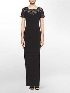 a mesh ribbed pattern provides a flattering fit to this short sleeve gown for any elegant occasion.
