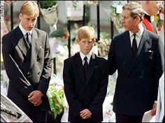 Princes William and Harry with their father Prince Charles at the funeral for their mother Princess Diana