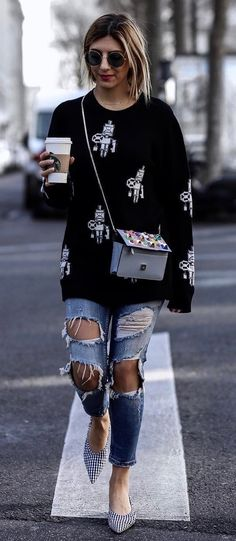 e4cc9fc68c48 awesome outfit idea   printed sweater + bag + ripped jeans + heels Fall Outfit  Ideas
