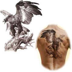 Do you want to have a Domineering tattoo? Just here, 24cm x 34cm Big Temporary Tattoo Stickers Waterproof Men's Large Eagle Tattoo Totem Arm Back Sticker