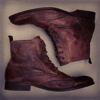 Leather Brogue Boots by Hudson
